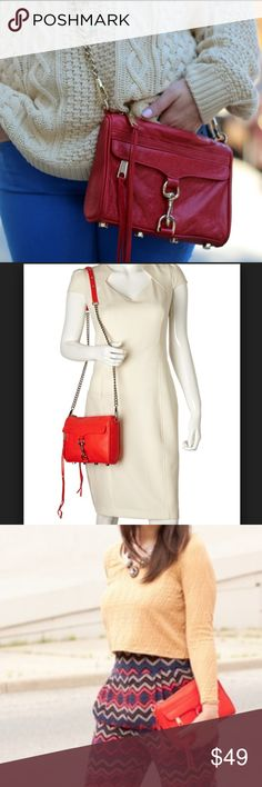 """Rebecca Minkoff Red Mini Mac Crossbody or Clutch An oversized clip-lock gleams at the front flap of a rich leather crossbody, while an optional chain strap lets you switch in a flash from handheld clutch to crossbody style. So cute and in good preloved condition. The body side has some darkening from wear with jeans. Small pen mark near the zipper pull doesn't show when worn. Lining pristine. All hardware gleaming and unscratched. See all pics. 9.5""""W x 6 1/2""""H x 2""""D. 23.5"""" strap drop…"""