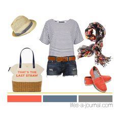 """Coral + Floral + Stripes..."" by daniellej1116 on Polyvore    only with jeans, not shorts"
