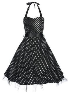 Lindy Bop Bonnie Black Polka Dot Vintage 1950S Rockabilly Pinup Halter Party Swing Dress,$46.99 Appealing Apparel For Women | Big Fashion Show swing dress