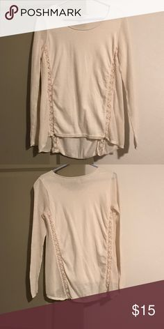 Lucky Brand Beige Long Sleeve Top Beige, raw neckline. Sides and sleeves are semi sheer knit. Flower lace like detail on sides in front and back. Lucky Brand Tops Tees - Long Sleeve