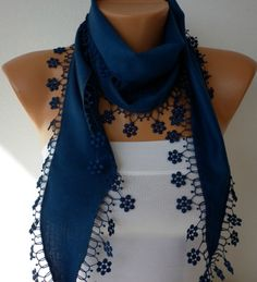 -Navy  Blue Scarf   Pashmina  Scarf  Headband Necklace by fatwoman, $13.50