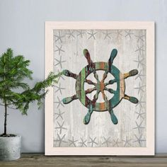 Nautical Bathroom Print - Distressed Wood Effect Ship Wheel 1 Beach Nursery Decor Nursery Art for Kids Room Decor Nautical print Beach House