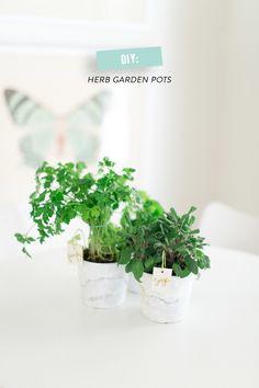 DIY Herb Garden Pots  Read more - http://www.stylemepretty.com/living/2014/03/11/diy-windowsill-herb-garden/