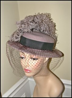 Affordable Excellence!!    Vintage Hat Plumes and Veil FREE Shipping USA by Nicholettes, $64.95