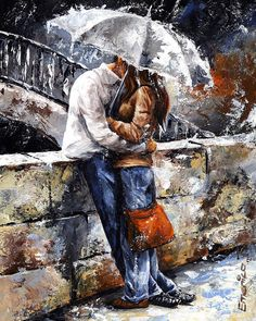 Rainy Day - Love In The Rain Painting (in color)  by Emerico Imre Toth