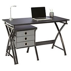 """Brenton Studio® X-Cross Desk And File Set, 29 1/2""""H x 47 5/8""""W x 22""""D, Black - Description  Solve all your storage needs Slim, contemporary design adds a modern accent to your home office.  47 5/8"""" width provides ample space for working.  Lightweight pieces are easy to set up and easy to store.  Includes matching file with 3 baskets.  Meets and/or exceeds ANSI/BIFMA performance standards.  Assembly required."""