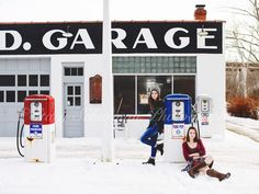 Pic of the Day, © Stacy Schurman Photography, senior portrait photography at gas station, snow, senior photos