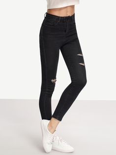 Shop Ripped Black Skinny Jeans online. SheIn offers Ripped Black Skinny Jeans & more to fit your fashionable needs.
