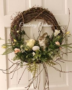 Diy Wreath, Grapevine Wreath, Easter Wreaths, Christmas Wreaths, Diy Easter Decorations, Diy Door, Easter Crafts, Easter Ideas, Sitting Positions