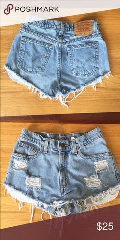 "Levi's Cutoff Shorts Authentic Levi's shorts. Light wash. Never worn! Waist is about 26-27"". Levi's Shorts Jean Shorts"