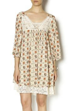 70ca25c2fb23e6 Three quarter sleeve flowy dress with crochet detail at the top and lace  trim underlay delicately