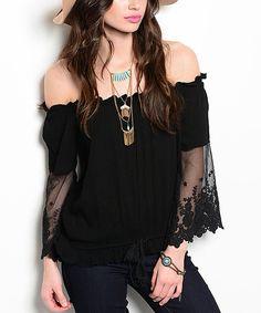 56c6be0c084ab Black Embroidered Off-Shoulder Top