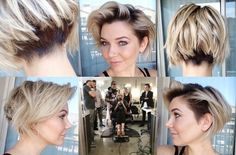 Hair stylist Briana Cisneros. Short angled bob with undercut to help take away some bulk/volume <3 not in love with the buzzed left side, but I like the idea of exposing the ear