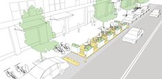 Parklets explained and illustrated in the NATCO Urban Street Design Guide. Click on image for details, and visit the Slow Ottawa 'Streets for Everyone' Pinterest board for more of these superb illustrations.