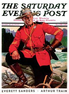 Saturday Evening Post Copyright 1933 Canadian Mountie - www.MadMenArt.com | Published 1897-1969. Art Nouveau covers until 1942. #SaturdayEveningPost #Vintage #Post #Magazines #Illustrations #Humor #MagazineCovers #Cartoons #VintageIllustrations #ArtNouveau