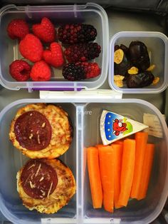 #lunchbox Pepperoni muffins, carrot sticks, cheese wedge, raspberries, blackberries, dates, raisins