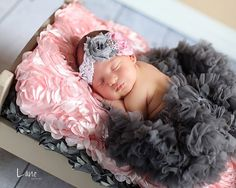 Newborn/Baby Flower Headband Photo Prop -Vintage Pink and Gray Shabby Flower Headband, this photo is adorable!! Love the pink and gray