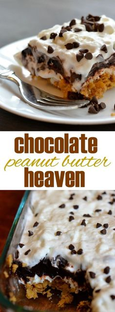 "Chocolate Peanut Butter No Bake Dessert.This easy, no bake dessert truly tastes like heaven. Layers of peanut butter ""crunch,"" sweetened cream cheese, and dark chocolate pudding, topped with whipped topping and mini chocolate chips. 13 Desserts, Easy Summer Desserts, Brownie Desserts, Easy No Bake Desserts, Oreo Dessert, Chocolate Desserts, Delicious Desserts, Yummy Treats, Chocolate Pudding"