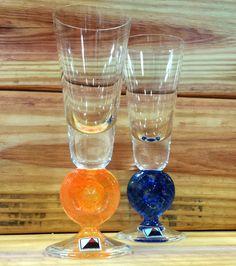 Czech Republic Blue and Orange Shot Glasses by ArtMaxAntiques on Etsy