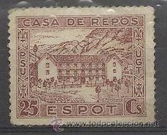 .Casa de Repòs Espot. UGT-PSU, 25 cts. (Sellos - España - Guerra Civil - Viñetas - Usados)