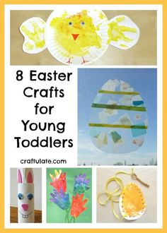 These 8 Easter crafts are all super simple and easy - perfect for young toddlers. Great introduction to spring, eggs, chicks, rabbits and flowers.
