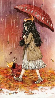Autumn rain 가을비 Mister Rain is here in quite chilly weather. Leaves are turning redder and ginkgo leaves are turning yellower with the fall of autumn rain. Art And Illustration, Illustrations, Art Anime Fille, Anime Art Girl, Art Fantaisiste, Art Mignon, Autumn Rain, Forest Girl, Korean Artist