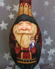 """Another masterful work by one of my favorite gourd artists, Suzy Meelhuysen ..... Wow, Love it!!  """"Nutcracker Santa""""  tall gourd hand painted Santa by SuzysSantas, $175.00"""
