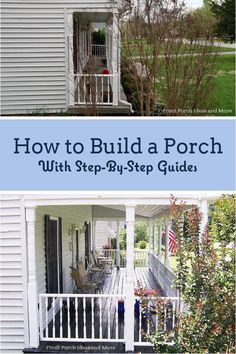 A step by step DIY guide on how to build a porch from roof to foundation! Most DIY'ers with solid carpentry skills can build a front porch. Doing it yourself is a great option when you're on a budget. Front Porch Addition, Front Porch Deck, Small Front Porches, Covered Front Porches, Front Porch Design, Porch Roof, Side Porch, Farmhouse Front Porches, Front Yards