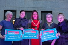 The Mayor of Derry City and Strabane District, Councillor Elisha McCallion, pictured with Clare Watson, Northern Ireland Manager of Epilepsy Action, second from left, and volunteers from the charity, Vera McCready, Colette McCool and Kathleen McLaughlin, outside Derry City and Strabane District Council Offices. The building was turned purple, the charity's colour, on Saturday 26 March to celebrate Purple Day, the global day of epilepsy awareness