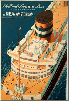 SS NIEUW AMSTERDAM - The Nieuw Amsterdam was a Dutch ocean liner built in Rotterdam for the Holland America Line. This Nieuw Amsterdam, the second of four Holland America ships with that name, is considered by many to have been Holland America's finest ship.
