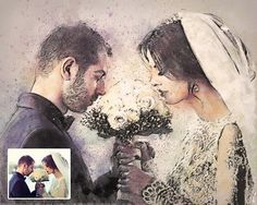 Custom Wedding Color Chalk Sketch Portrait created from your photo as a gift to your loved ones or simply to cherish beautiful moments. You can get it as a digital file and print it yourself or I can print it for you on a several quality products (for a fair price) such as canvas, poster,