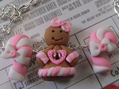 Gingerbread Girl Necklace Pink & white Holiday Gift