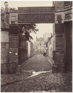 "Charles Marville, (French, 1813–1879). Cour Saint-Guillaume (Ninth Arrondissement), 1866-1867. The Metropolitan Museum of Art, New York. Gilman Collection, Purchase, Alfred Stieglitz Society Gifts, 2005 (2005.100.378) | This photograph is featured in ""Charles Marville: Photographer of Paris,"" on view through May 4, 2014. #paris"