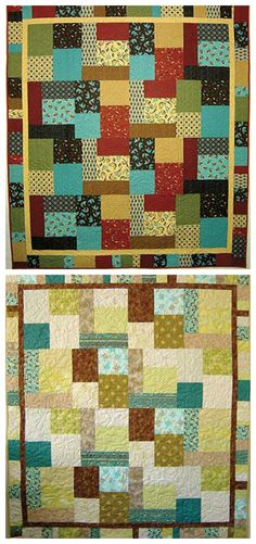"""This fast and easy quilt pattern is made using just 16 fat quarters and can easily be cut out and pieced in just 4 hours! You can even use your leftover scraps to put together a scrappy border. The pattern comes with diagrams and step-by-step instructions for piecing and finishing 2 different-size quilts.Finished sizes:Without borders: 56"""" x 64""""With borders: 67"""" x 75"""""""