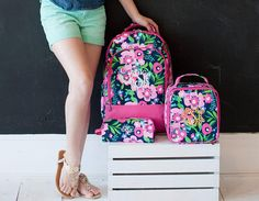 3 Piece Girls Posie Monogrammed Backpack Set  Monogrammed