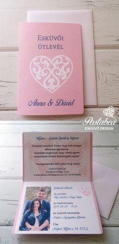 rózsaszín útlevél esküvői meghívó - wedding passport, wedding boarding pass invitation Origami, Wedding Invitations, Diy Crafts, Weddings, Wedding Dresses, Rings, Party, Bride Dresses, Bridal Gowns