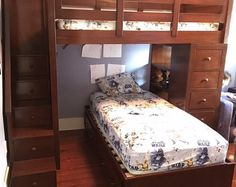 Queen Size Heavy Duty Loft Bed With Stair Case Shelf