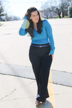 High waisted trousers for work. Blue hues
