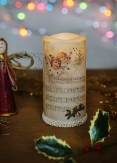 LED Christmas candle, Christmas candle, Decoupaged candle, Rustic vintage candle, Christmas decoration, Candle with angels