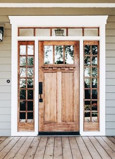 47 Rustic Farmhouse Porch Decorating Ideas to Show Off This Season farmhouse front door, Farmhouse Porch Decorating Ideas to Show Off This Season Style At Home, Rustic Shutters, Rustic Front Doors, Farmhouse Front Doors, Front Door Side Windows, Front Entry, Front French Doors, Front Door Molding, Stained Front Door