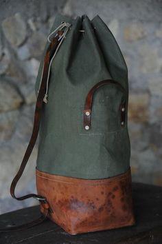 """Duffle Rucksack Filed under: Accessories, Duffles, Rucksacks, Bags "" Backpack Bags, Leather Backpack, Leather Bags, Duffel Bags, Tote Bag, Leather Projects, Leather Working, My Bags, Bucket Bag"