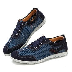 Men Lycra Honeycomb Mesh Splicing Soft Outdoor Casual Sneakers Favo ebd4bab9f24