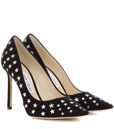 JIMMY CHOO Romy 100 suede and metallic leather pumps. #jimmychoo #shoes #pumps