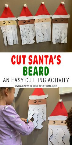 Cut Santa's Beard Fine Motor Activity - HAPPY TODDLER PLAYTIME