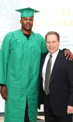 There are plenty of photographs showing Derrick Nix wearing his Michigan State basketball uniform while standing next to head coach Tom Izzo. But the one taken Wednesday of Nix in a cap and gown is why Izzo is affectionately calling the former Spartan center gthe miracle on Birch Streeth these days.