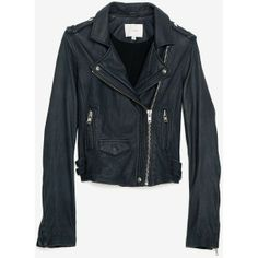 IRO Leather Jacket: Navy ($1,240) found on Polyvore