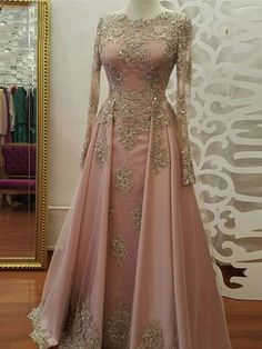 2018 A-line Prom Dresses Scoop Long Sleeve Pink Applique Long Prom Dress Evening. - 2018 A-line Prom Dresses Scoop Long Sleeve Pink Applique Long Prom Dress Evening Dresses Sexy Evening Dress, Prom Dresses Long With Sleeves, Pink Prom Dresses, A Line Prom Dresses, Cheap Prom Dresses, Evening Gowns, Homecoming Dresses, Dress Long, Dress Prom