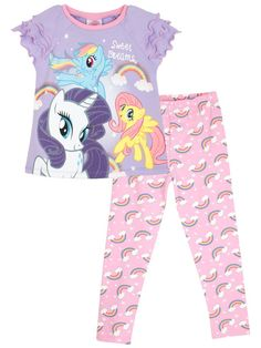 My Little Pony Girls My Little Pony Pyjamas Ages 2 to 10 Years My Little Pony Pajamas, Pajama Set, Pajama Pants, My Little Pony Pictures, Rainbow Print, Bnf, Girls Pajamas, Trends, Girls Bows