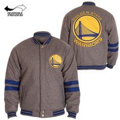 Golden State Warriors JH Design Men's Embroidered Reversible Melton Jacket - Grey/Royal