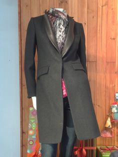 Women's long black wool overcoat with leather lapel trim from Rag & Bone.